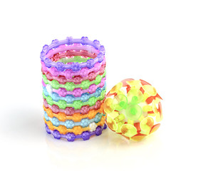 colorful plastic toy bangle on white background