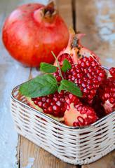 organic juicy ripe pomegranate