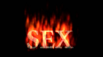 Text animation :SEX burning on fire (alpha channel included)