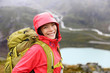 Happy young asian hiker woman hiking portrait - 77976434