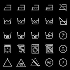 Laundry line icons on black background