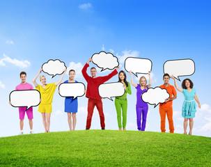 Speech Bubbles Diverse Diversity Ethnic Ethnicity Concept