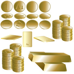 Set of gold coin and ingot
