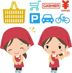スーパーマーケットと店員のイメージ