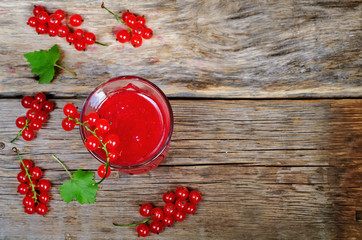 red currants jam in the glass