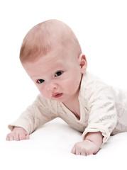 Newborn baby on white