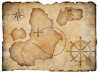 Old pirates parchment treasure map isolated. Clipping path