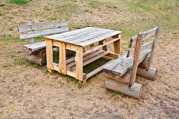 Rough wooden table and two benches