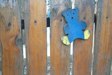 Wooden fence of a playground