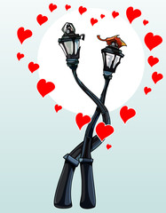 enamored hug street lights, with hearts