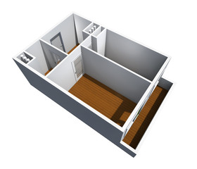 model of the one-room apartment