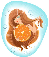 Girl long hair holds an orange. Template label shampoo