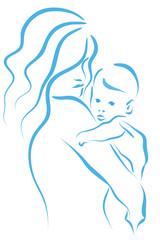 matka z dzieckiem na rękach wektor