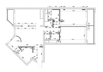 draft plan of the apartment with sizes