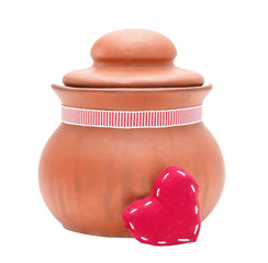 clay pot and red heart isolated on the white