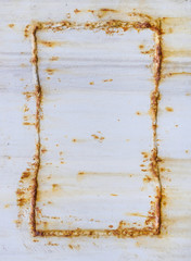 White corrugated iron metal texture with Rust Frame on surface b