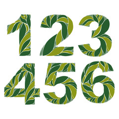 Spring floral numbers, decorative eco style digits with vintage