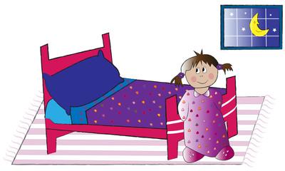 Niña con cama y en camisón