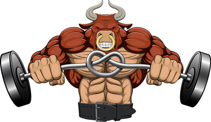 Illustration, a strong angry bull