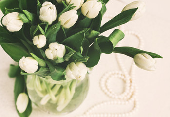 bouquet of fresh  white  tulips