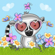 Lemur with flowers