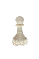 standing chess pawn on white background