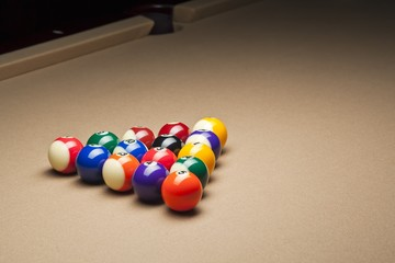 view of pool balls on pool table