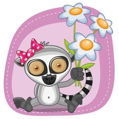 Lemur with flowers