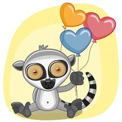 Lemur with balloons