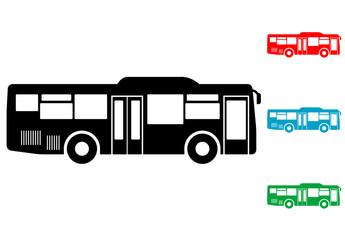 Pictograma autobus lateral en varios colores
