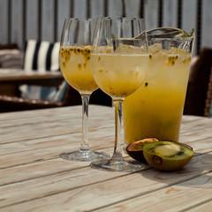 Maracuya and kiwi lemonade pitcher (retro effect, toned)