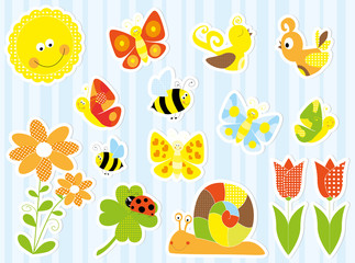 Spring nature stickers set - vectors