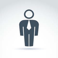 Silhouette of person standing in front - vector illustration of