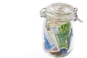 euro money in a jar