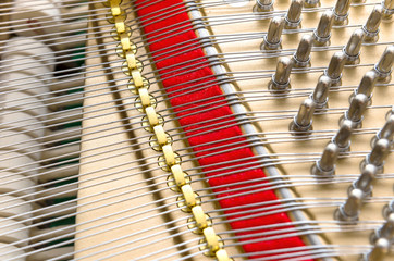 Close up view on piano strings