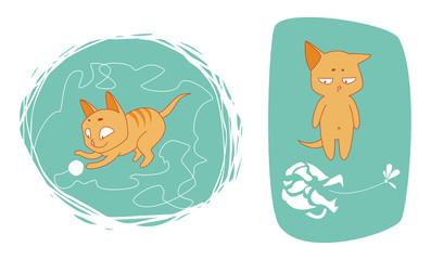 illustration with kitten