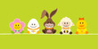 Easter Rabbit & Friends Green DIN