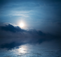 Sky with clouds reflected in water surface.