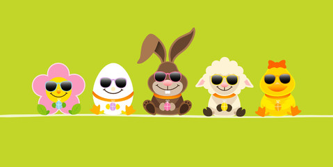 Easter Rabbit & Friends Sunglasses Green DIN