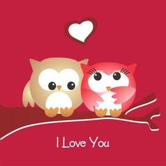 San Valentín_Pareja de buhos enamorados sentados_I love you