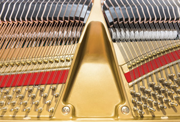 View on grand piano string and hammer mechanism