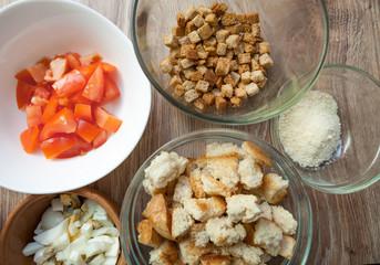 Ingredients for Caesar salad