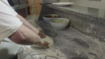 Kitchen Man Preparing Food Making Pizza Mediterranean Diet