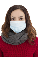 Woman wearing a virus mask