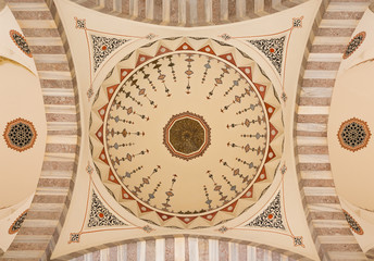 Decorated ceiling in muslim mosque, Istanbul