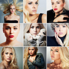 collage of beautiful young blond women.different style model