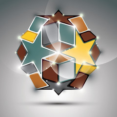 Party 3D metal glossy mirror ball with stars and cubes. Vector f