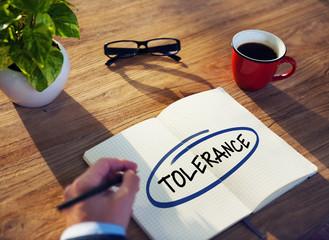 Businessman Writing Word Tolerance Concept
