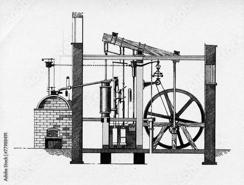 Leinwanddruck Bild Watt steam engine, 1784