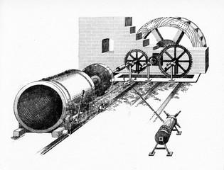 John Smeaton's waterwheel powered cylinder drill, 1769